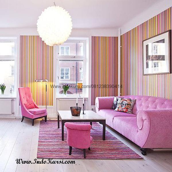 Kursi Sofa Ruang Tamu Mewah Jok Pink