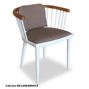 Kursi Cafe Lengkung Jari Jari Putih, indo kursi, indo jati
