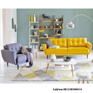 Kursi Tamu Scandinavian Sofa Kancing, indo jati, indo kursi