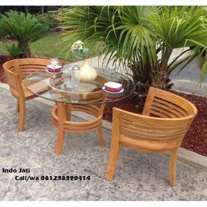 Set Kursi Cafe Sandaran Lengkung Jati, indo jati, indo kursi, berkah jati, lemari pajangan jepara