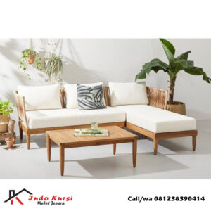 Sofa Sudut Minimalis Kayu Jati